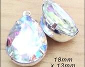 Crystal AB Glass Beads, Pear or Teardrop, Framed Glass Pendant, Earring Jewels, 18mm x 13mm, Rhinestone, Glass Gems, Cabochon, One Pair