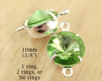 Peridot Green Glass Beads, Silver Settings, Brass Settings, 10mm Rivoli, Round, 45ss, Set Stones, Rhinestone, One Pair