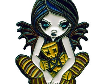 Voodoo in Blue Collectible Enamel Pin by Jasmine Becket-Griffith Art lapel pin button brooch voodoo doll hoodoo santeria pins