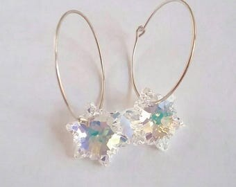 Little Snowflake Earrings with Swarovski Edelweiss Crystals and Sterling Silver