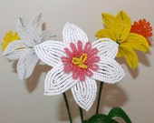 French Beaded Flowers Two Daffodils & A Narcissus