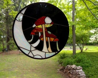 Original Design Stained Glass Window - Mushrooms on the Crescent Moon -  Art Glass - Boho Chic Home Decor, Renter Friendly