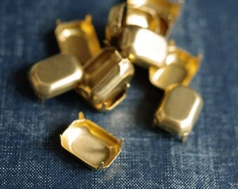18x13mm Octagon NO Loop Brass Rhinestone Prong Settings - 18pcs - Raw Brass Prong Setting 18x13 Rectangle Octagon Glass Jewel Frame