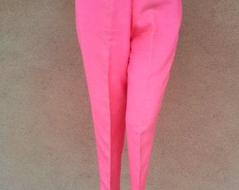 Vintage 1960s Pants Cigarette 60s Slacks Hot Pink Silk US8 W27