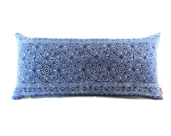 Ethnic Blue Batik Indigo Hmong Textile Linen Lumbar Pillow - Boho Linen Decorative Pillow- Down Filler Included