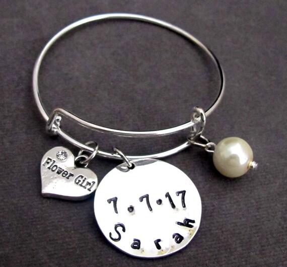 Flower Girl Bridesmaid Bracelet,Wedding Date and Name Bracelet Personalized Wedding Gift Bangle Bracelet, Bridal Jewelry, Free Shipping USA