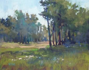 FOREST Trees Landscape Original Pastel Painting Karen Margulis 8x10