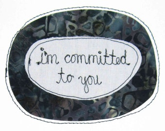 Greeting Card Sewn Thread Romantic Dating Romance I Love You Commitment Devotion Serious Invested Steady Couple Committed Permanent Blue