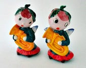 Vintage Anthropomorphic Angel Holly Berry Salt and Pepper Shakers - Holiday Christmas Japan Shakers