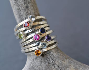 Birthstone Stacking Rings- stackable mothers rings