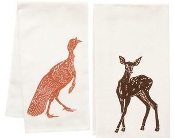 NEW ROOF SALE woodland friends organic tea towel set