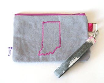 Wristlet Purse / Wristlet Clutch / Cell Phone Wristlet - Indiana Love