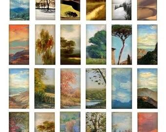 3D Landscape Domino - 1x2 Inch - Digital Collage Sheet  - Instant Download