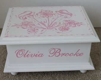 Pink Lillies Toile Personalized Baby Keepsake Memory Box baby gift hand painted