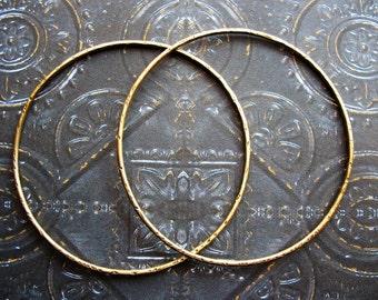 2 inch Antiqued Notched Brass Circle Hoop Findings - 1 pair - 16 gauge