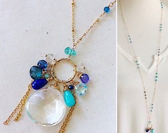 Quartz LONG Asymmetrical necklace with Apatite, Topaz, Kyanite, Lapis