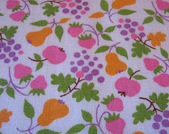 "Vintage Fabric 1960's Mod Tiny Fruit Pink Orange Strawberry Grapes Pear Apple 36"" X 1.75 Yards Purple Green Vintage Cotton Textile"