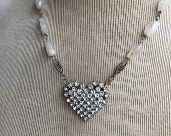 Vintage Rhinestone Heart and Rainbow Moonstone Necklace