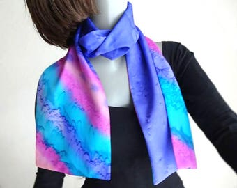 Hand Painted Silk, Unique Reversible Scarf,  Multicolor Scarf, Purple Lavender Pink Teal, Hand Dyed, Artisan Handmade, Jossiani.
