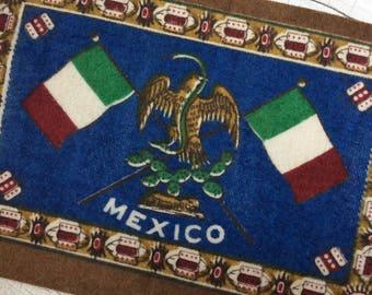 vintage cigar felt,collectible felt,Mexico banner,dollhouse rug,memorialbilia,cigar flannel,cigar premium,Mexico flag,Mexico crest,dark blue