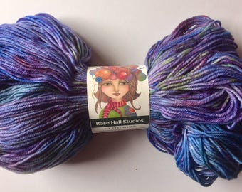 Hand Dyed, Pale Blue, Violet, Purple and a tiny bit of Green Sock Yarn, Knitting, Crochet, Indie Dyer, Superwash Fingering Weight 462 Yards
