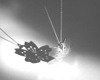 Domed Sterling Silver Sakura Pendant