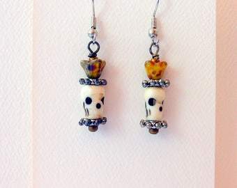 Earrings Dangle Earrings Skull and Flower Earrings #003