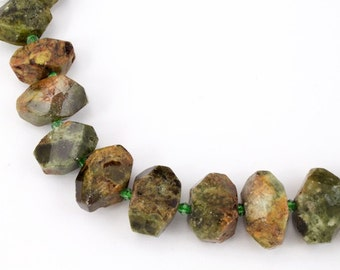 20mm x 15mm Faceted Polished Green Garnet Nugget Strand