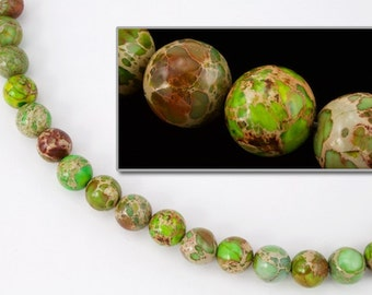 10mm Round Aqua Terra Jasper Yellow/Green Strand (20 Pcs)