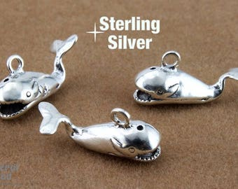 Sterling Silver 19mm 3D Whale Charm (1 Pc)  #BSJ045