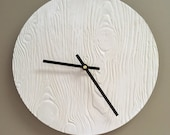 White Wood-textured Ceramic Wall Clock