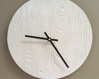 White Wood-textured Ceramic Wall Clock