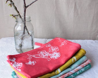 bright coral cherry blossom towel