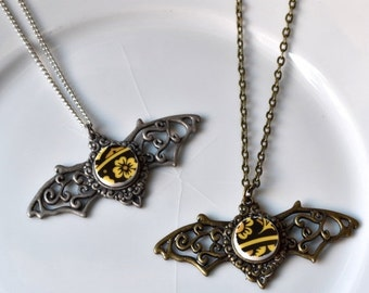 ON SALE Silver Color Bat Recycled China Necklace