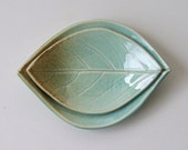 Pretty Ceramic Leaf Plates, Hand Built, Nested, Persimmon