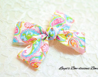 Bright Paisley Double Bow Tie Hair Bow - large or extra large - paisley bow - baby bows - toddler bows - girls bows - no slip hair bows