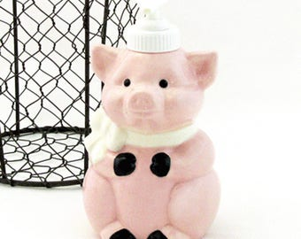 Charming Ceramic Pig Soap Pump Dispenser for Country Kitchens or Bath Vanity Decor Made in the USA