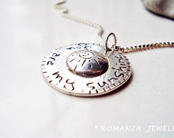 You Are My Sunshine Domed Silver Necklace, sun, personalized disc, smiley face, romanza jewelry