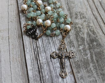 Green Adventurine Gemstone Rosary with Solid Bronze Shamrock Crucifix and Center (Fair-Trade Beads)