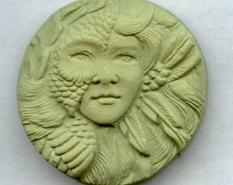 Polymer  Clay Faux Jade Art Nouveau Goddess Cab  GNAN 3