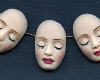 """Lot of 3  Detailed  1 1/2 """"  x 1""""  Polymer Face  Beads Side Drilled NDFB 3"""