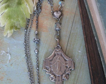Long boho, religious medal, rosary necklace, repurposed, one of a kind, miraculous medal, Holy Virgin, Mary, Madonna, Catholic, upcycled