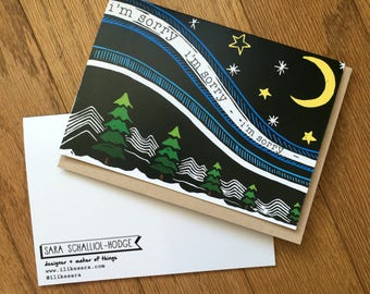 "SORRY NIGHT greeting card with kraft envelope 5"" x 7"""