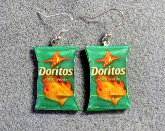 Doritos Salsa Verde Kitsch Dangle Polymer Clay Junk Food Earrings Hypo Allergenic Nickle-Free