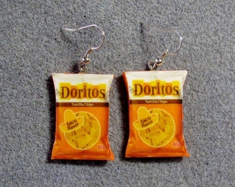 Doritos Taco Kitsch Dangle Polymer Clay Junk Food Earrings Hypo Allergenic Nickle-Free