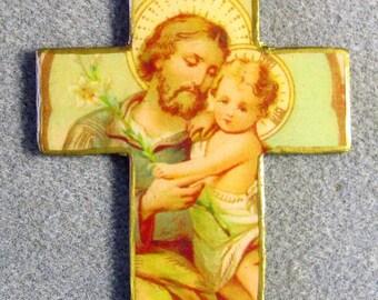 Saint Joseph Handmade Catholic Mini Wall Cross Crucifix Wood Resin SJ4