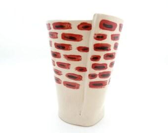 Handbuilt White, Red, and Black Ceramic Tumbler, Drinkware, Barware, Black and Red Dots, Slab Built, OOAK Cup, Spots, Brick, Snake Eyes
