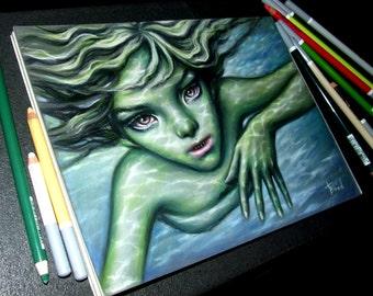 Jenny Greenteeth - original art by Tanya Bond - fantasy illustration pastels girl pop surrealism