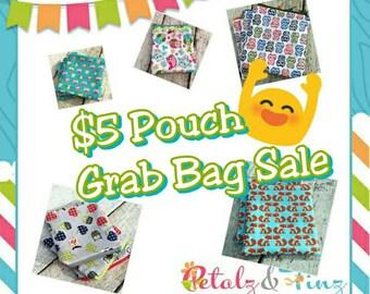 Sale zipper pouch random selection, surprise pouch. Grab Bag style sale. Great gift idea.
