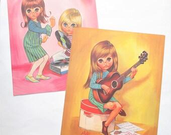 Vintage Eve Prints Big Doe Eyed Children Mod 60's Kids Girls Dancing Guitar Playing Hippie Set of Two